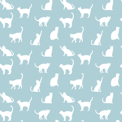Cat Silhouette in Powder Blue