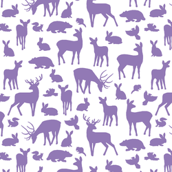 Forest Friends in Amethyst on White