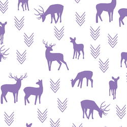Deer Silhouette in Amethyst on White