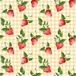 Strawberries in Afternoon Sunshine Gingham