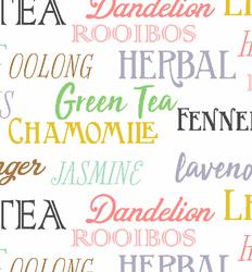 Tea Words in White