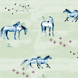 Wild Horses in Green