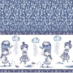 April Showers Border in Indigo