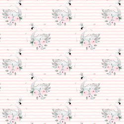 Small Blush Swans in Soft Blush Stripes