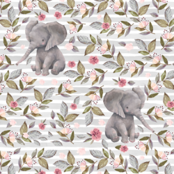 Floral Baby Elephant on Stripes in Grey