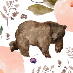 Large Floral Bear in White