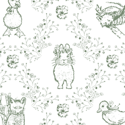 Large Bunny and Friends in Soft Pine on White