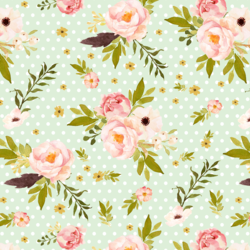 Bunny's Garden on Polka Dots in Soft Moss