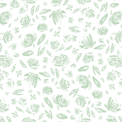 Spring Flowers in Mint on White