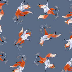Skating Foxes in Moonlight