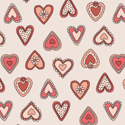 Large Vintage Hearts in Rouge