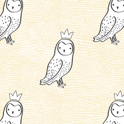 Crowned Owl in Sunny Yellow and Onyx