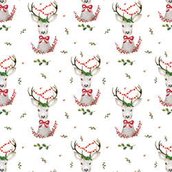 Small Fancy Holiday Deer in White