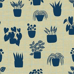 House Plants Linen in Cyan
