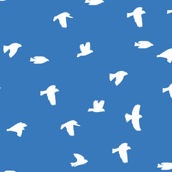 Flock Silhouette in Cerulean