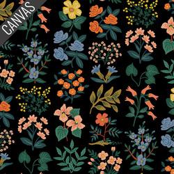 Wildflower Field Canvas in Black