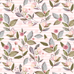 Tossed Floral on Stripes in Soft Blush