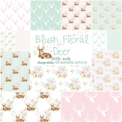 Blush Floral Deer Fat Quarter Bundle in Little Garden