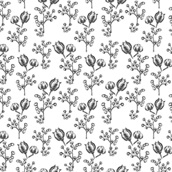 Woodland Botanicals in Onyx on White