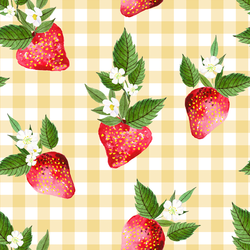 Large Strawberries in Afternoon Sunshine Gingham
