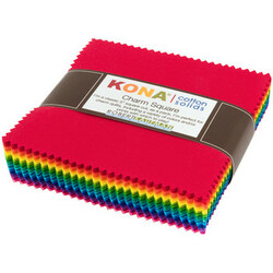 Kona Cotton Solids Charm Squares in Bright Colorstory