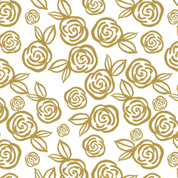Tea Roses in Gold on White