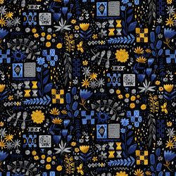 Tiles and Flowers in Yellow Black Multi