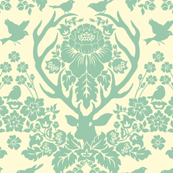 Antler Damask in Soft Aqua on Ivory