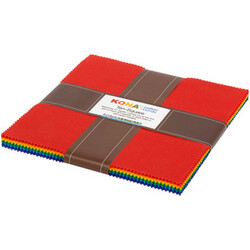 """Kona Solid 10"""" Square Pack in Bright Rainbow"""