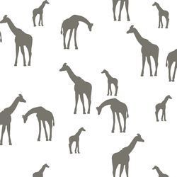 Giraffe Silhouette in Greige on White