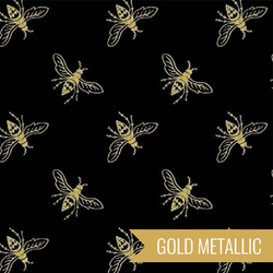 Bees in Gold on Black