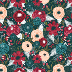 Dashing Floral in Deep Teal