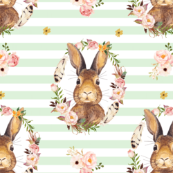 Bunny Love on Stripes in Soft Moss