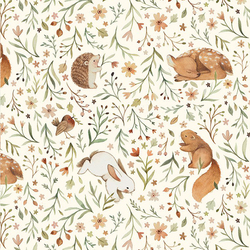 Animal Floral in Cream