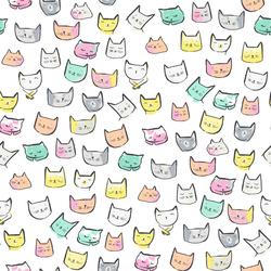 Cat Heads in White