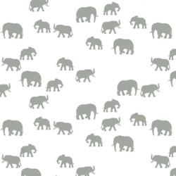 Elephant Silhouette in Sage on White