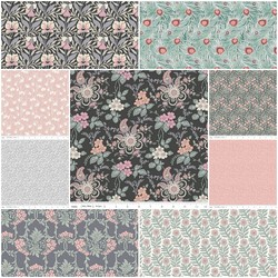 The Hesketh House Collection Fat Quarter Bundle in Roseate
