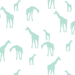 Giraffe Silhouette in Aloe on White