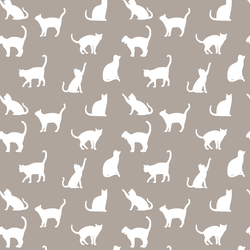 Cat Silhouette in Taupe