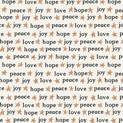 Peace Love Hope and Joy in Warm Sugar on Bone