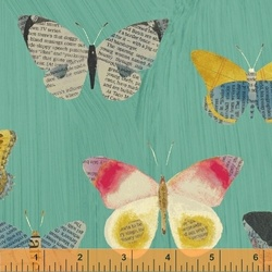 Newspaper Butterfly in Aqua