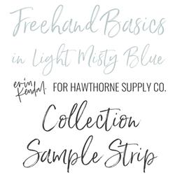 Freehand Basics Sample Strip in Light Misty Blue