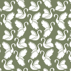 Swan Silhouette in Olive