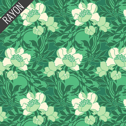 Floral Kisses Rayon in Green