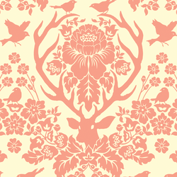 Antler Damask in Blossom on Ivory