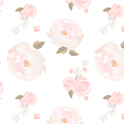 Tossed Floral in Rose