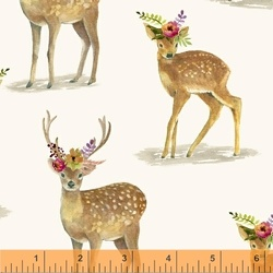 Floral Fawns in Linen