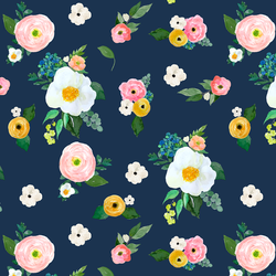 Large Spring Blossoms in Navy