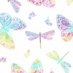 Rainbow Butterflies in White