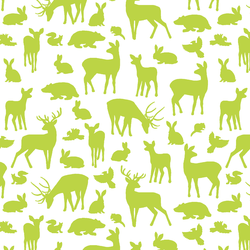 Forest Friends in Lime on White